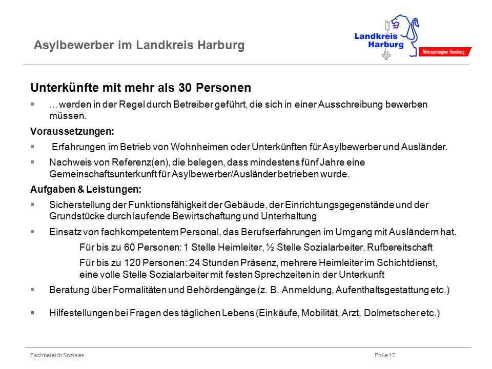Fachbereich Soziales Folie 17 Asylbewerber im Landkreis Harburg Unterkünfte mit mehr als 30 Personen  …werden in der Regel durch Betreiber geführt, d