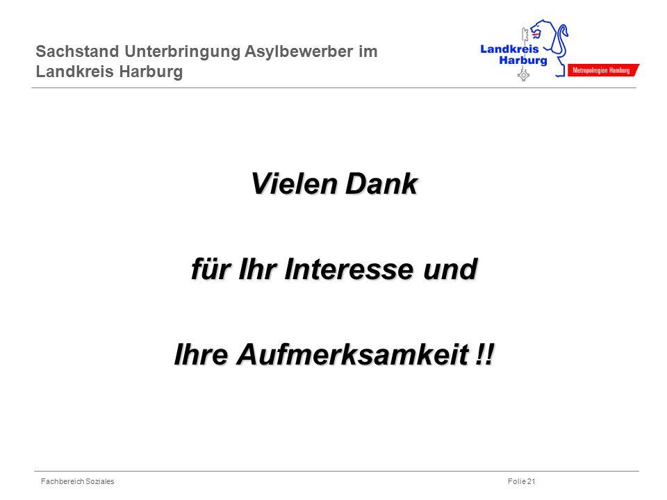 Fachbereich Soziales Folie 21 Sachstand Unterbringung Asylbewerber im Landkreis Harburg Vielen Dank für Ihr Interesse und Ihre Aufmerksamkeit !!