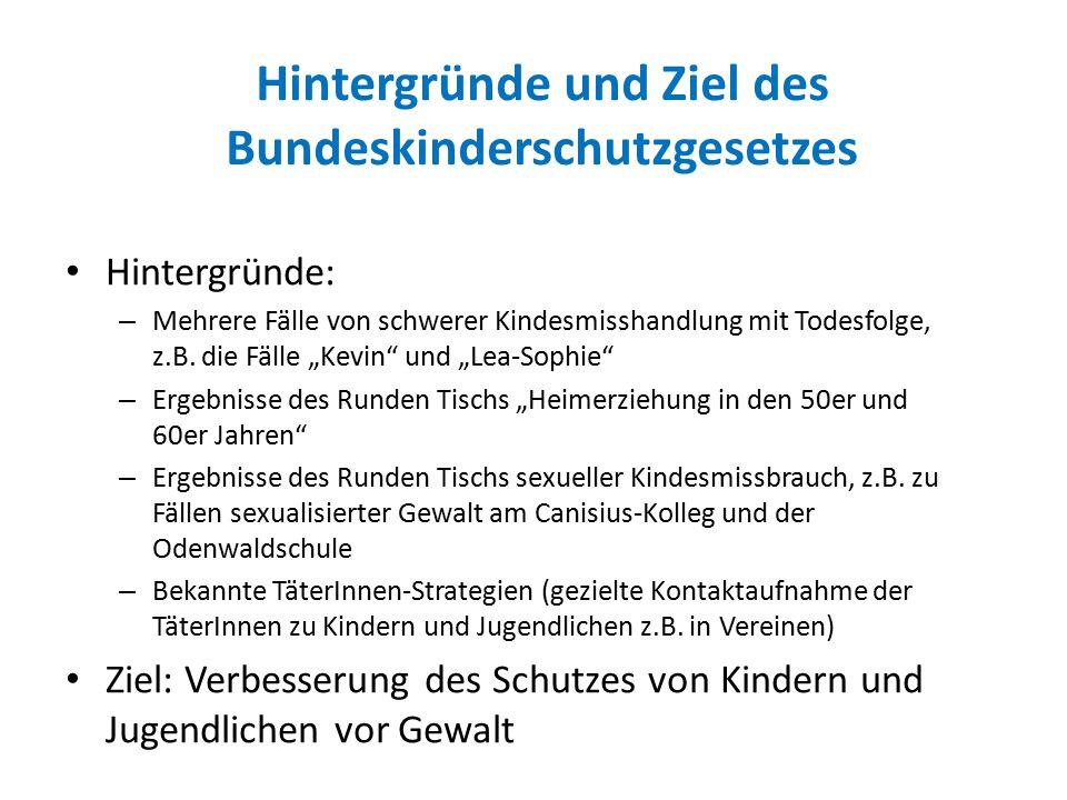 Hintergründe und Ziel des Bundeskinderschutzgesetzes Hintergründe: – Mehrere Fälle von schwerer Kindesmisshandlung mit Todesfolge, z.B.