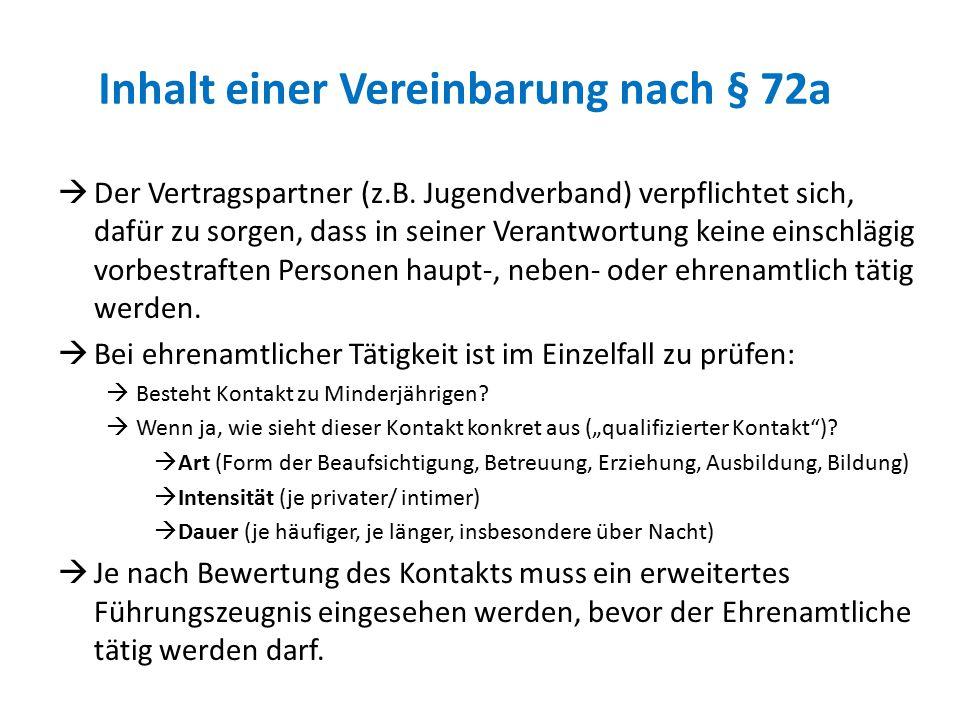 Inhalt einer Vereinbarung nach § 72a  Der Vertragspartner (z.B. Jugendverband) verpflichtet sich, dafür zu sorgen, dass in seiner Verantwortung keine