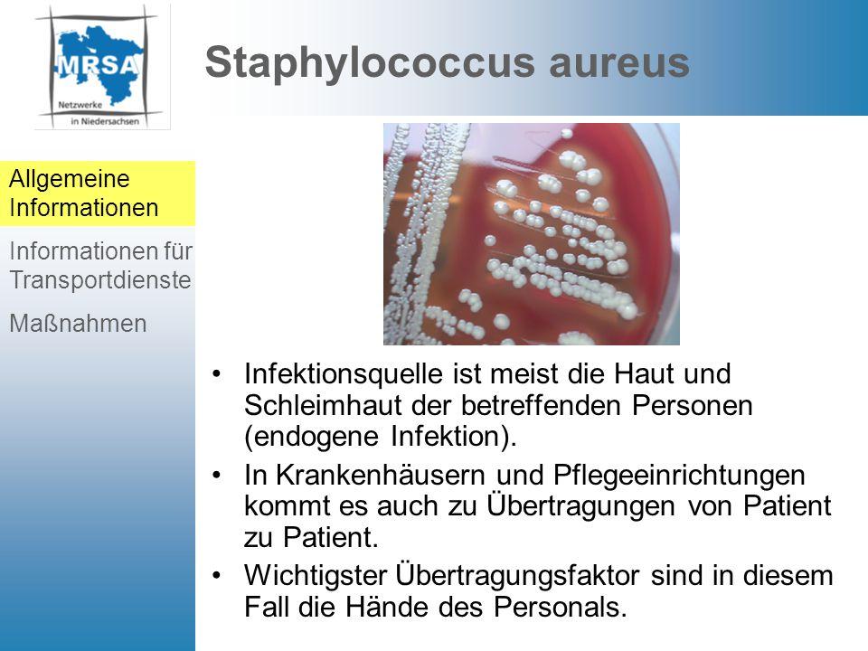 Probleme mit MRSA MRSA (früher ORSA) ist die multiresistente Variante von Staphylococcus aureus.
