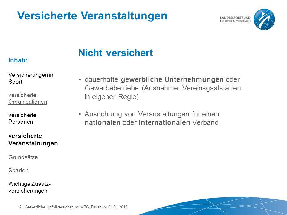 Versicherte Veranstaltungen Nicht versichert dauerhafte gewerbliche Unternehmungen oder Gewerbebetriebe (Ausnahme: Vereinsgaststätten in eigener Regie