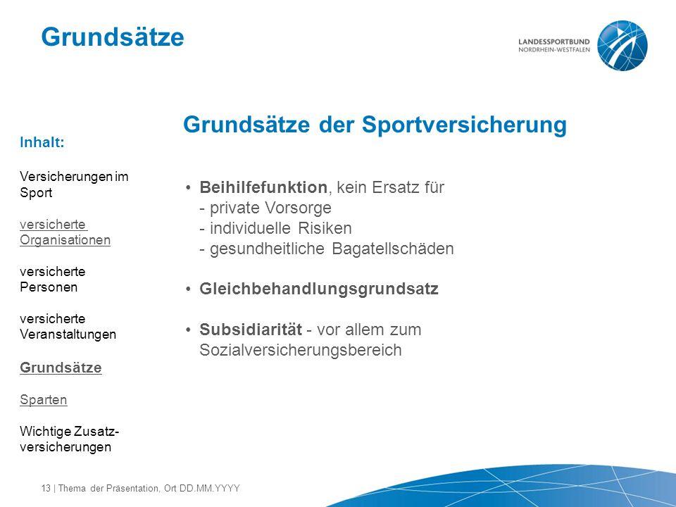 Grundsätze Grundsätze der Sportversicherung Beihilfefunktion, kein Ersatz für - private Vorsorge - individuelle Risiken - gesundheitliche Bagatellschä