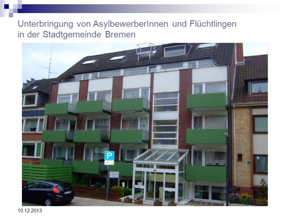 10.12.2013 Unterbringung von AsylbewerberInnen und Flüchtlingen in der Stadtgemeinde Bremen