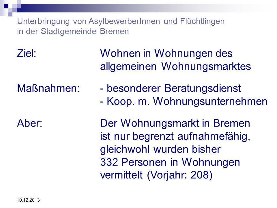 10.12.2013 Unterbringung von AsylbewerberInnen und Flüchtlingen in der Stadtgemeinde Bremen Ziel:Wohnen in Wohnungen des allgemeinen Wohnungsmarktes Maßnahmen:- besonderer Beratungsdienst - Koop.
