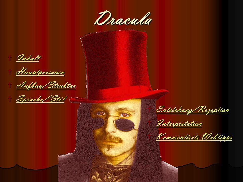 Dracula  Inhalt Inhalt  Hauptpersonen Hauptpersonen  Aufbau/Struktur Aufbau/Struktur  Sprache/ Stil Sprache/ Stil Sprache/ Stil  Entstehung/Rezep