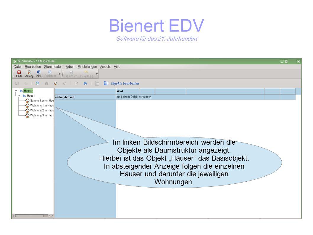 Im linken Bildschirmbereich werden die Objekte als Baumstruktur angezeigt.