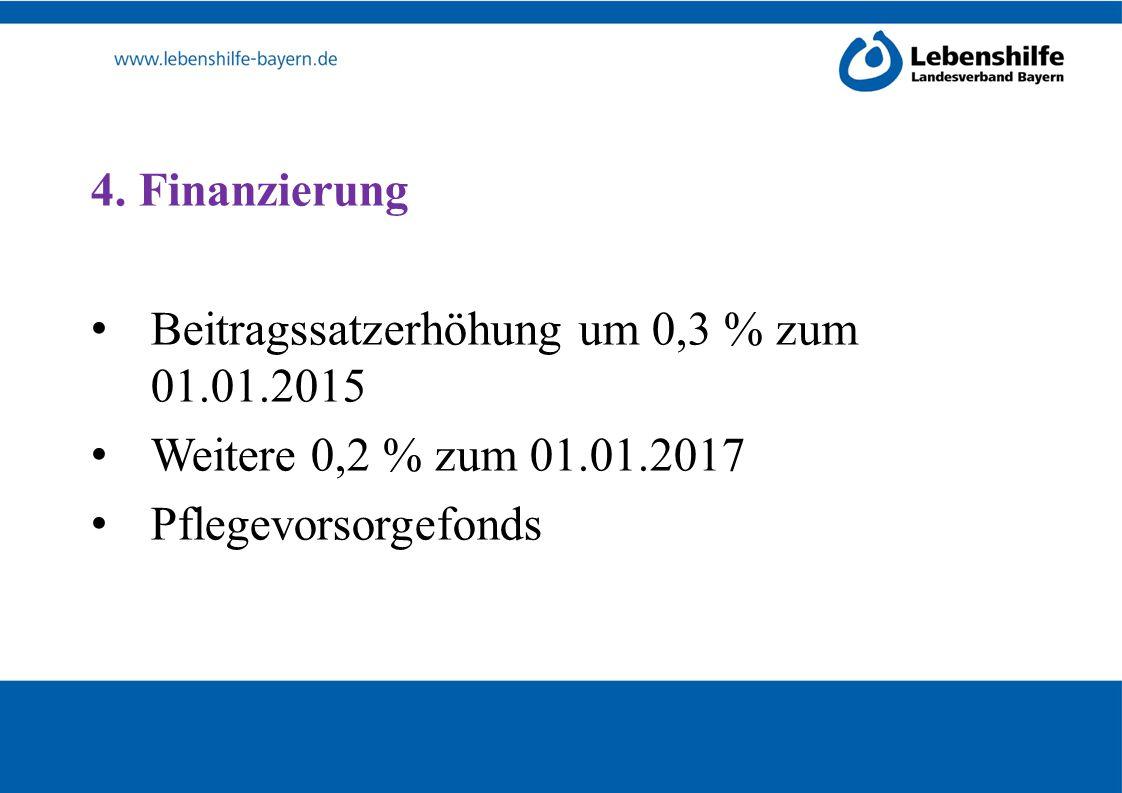 4. Finanzierung Beitragssatzerhöhung um 0,3 % zum 01.01.2015 Weitere 0,2 % zum 01.01.2017 Pflegevorsorgefonds