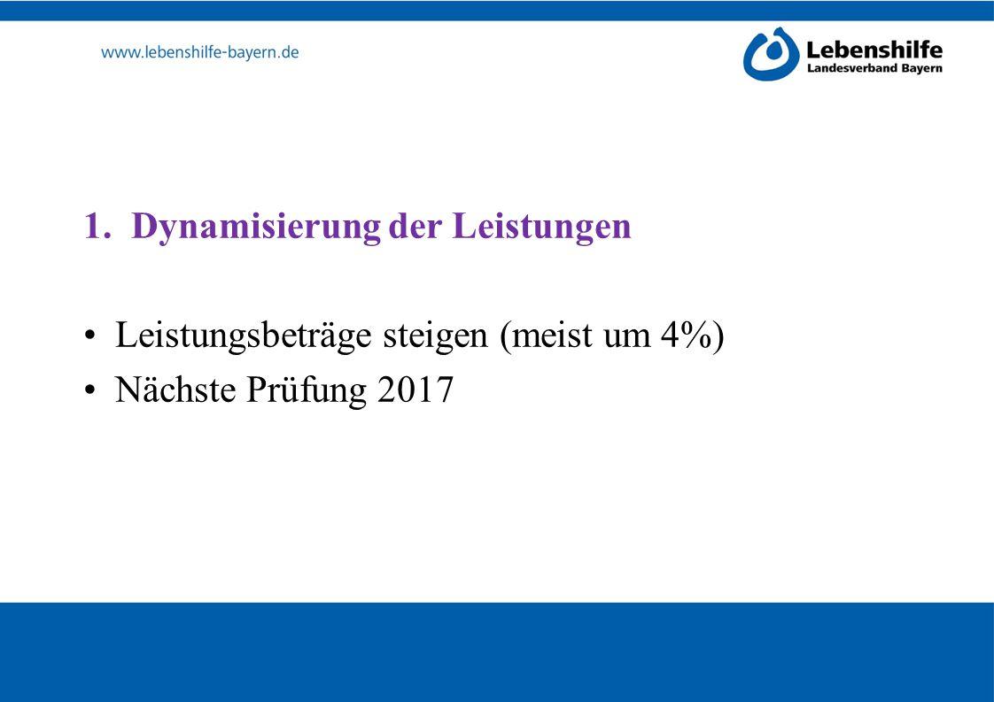 1.Dynamisierung der Leistungen Leistungsbeträge steigen (meist um 4%) Nächste Prüfung 2017