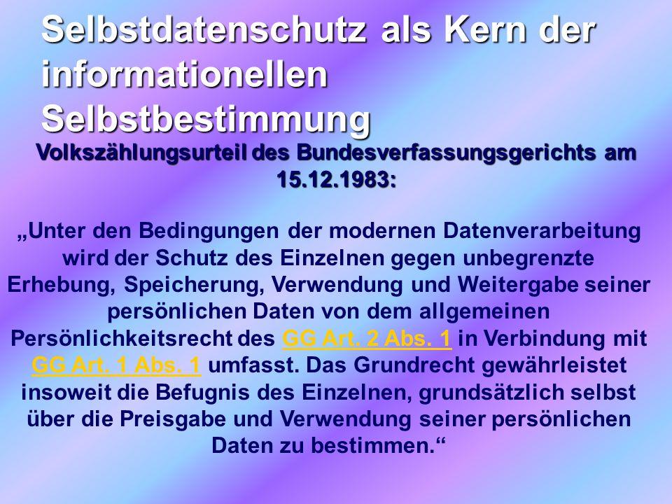 """Selbstdatenschutz als Kern der informationellen Selbstbestimmung Volkszählungsurteil des Bundesverfassungsgerichts am 15.12.1983: """"Unter den Bedingung"""