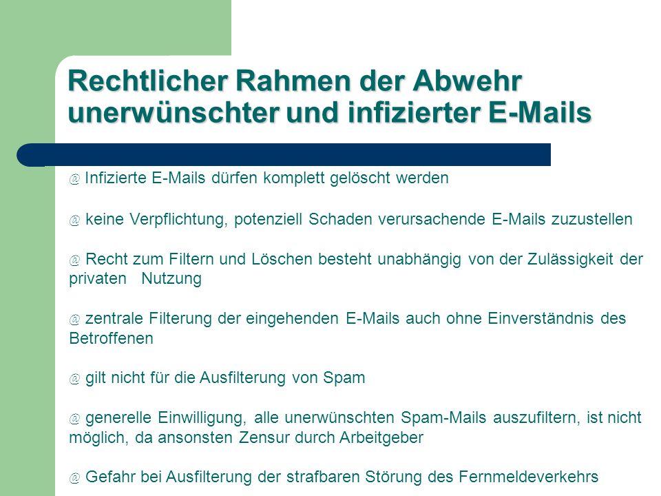 Rechtlicher Rahmen der Abwehr unerwünschter und infizierter E-Mails @ Infizierte E-Mails dürfen komplett gelöscht werden @ keine Verpflichtung, potenz