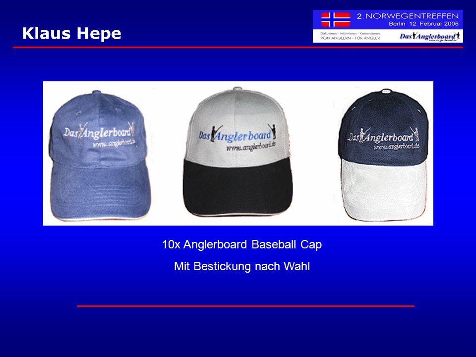 Klaus Hepe 10x Anglerboard Baseball Cap Mit Bestickung nach Wahl