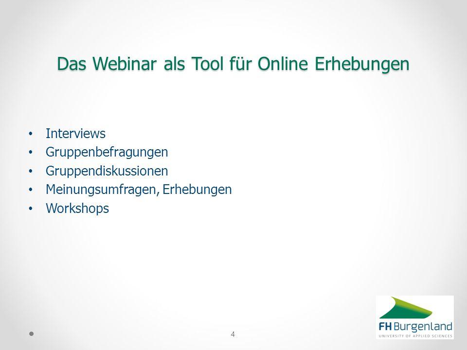 Interviews Gruppenbefragungen Gruppendiskussionen Meinungsumfragen, Erhebungen Workshops 4 Das Webinar als Tool für Online Erhebungen