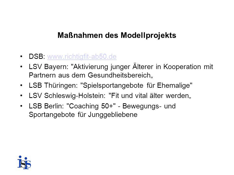 Maßnahmen des Modellprojekts DSB: www.richtigfit-ab50.dewww.richtigfit-ab50.de LSV Bayern: