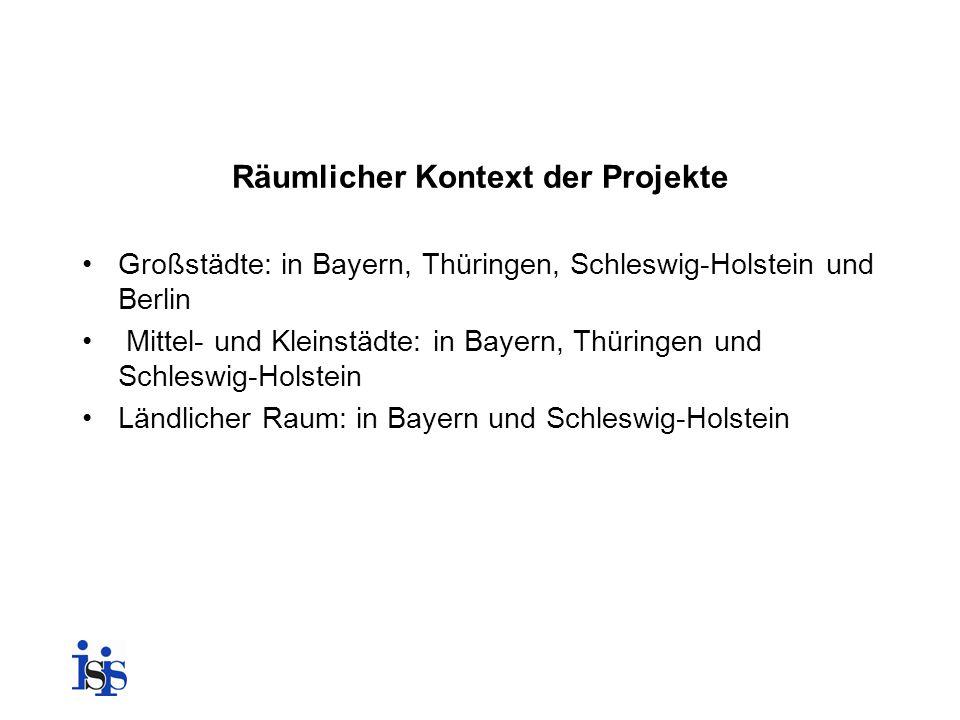 Räumlicher Kontext der Projekte Großstädte: in Bayern, Thüringen, Schleswig-Holstein und Berlin Mittel- und Kleinstädte: in Bayern, Thüringen und Schl
