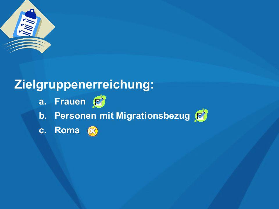 Zielgruppenerreichung: a.Frauen b.Personen mit Migrationsbezug c.Roma