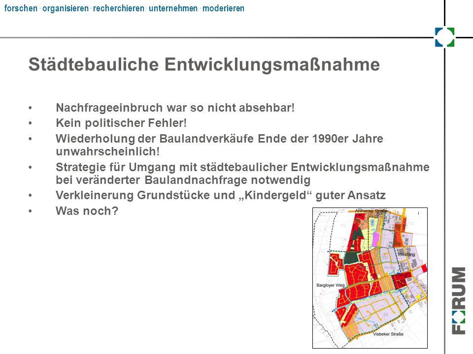 forschen. organisieren. recherchieren. unternehmen. moderieren Städtebauliche Entwicklungsmaßnahme Nachfrageeinbruch war so nicht absehbar! Kein polit