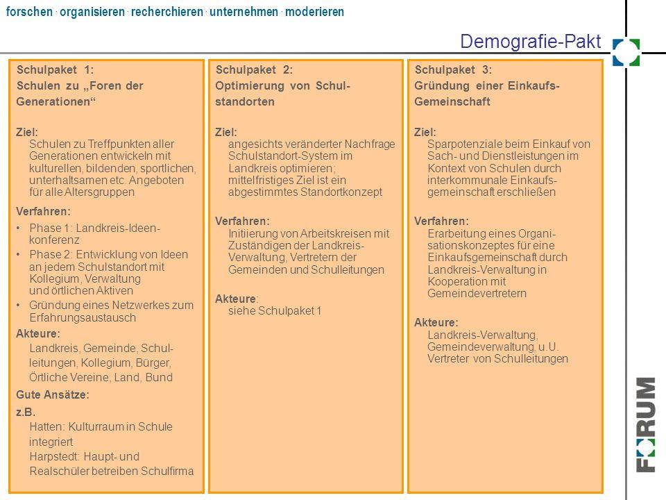 """forschen. organisieren. recherchieren. unternehmen. moderieren Schulpaket 1: Schulen zu """"Foren der Generationen"""" Ziel: Schulen zu Treffpunkten aller G"""