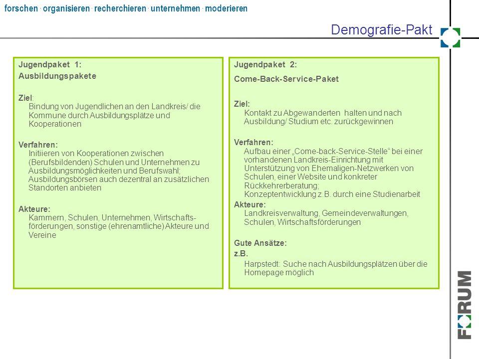 forschen. organisieren. recherchieren. unternehmen. moderieren Jugendpaket 2: Come-Back-Service-Paket Ziel: Kontakt zu Abgewanderten halten und nach A
