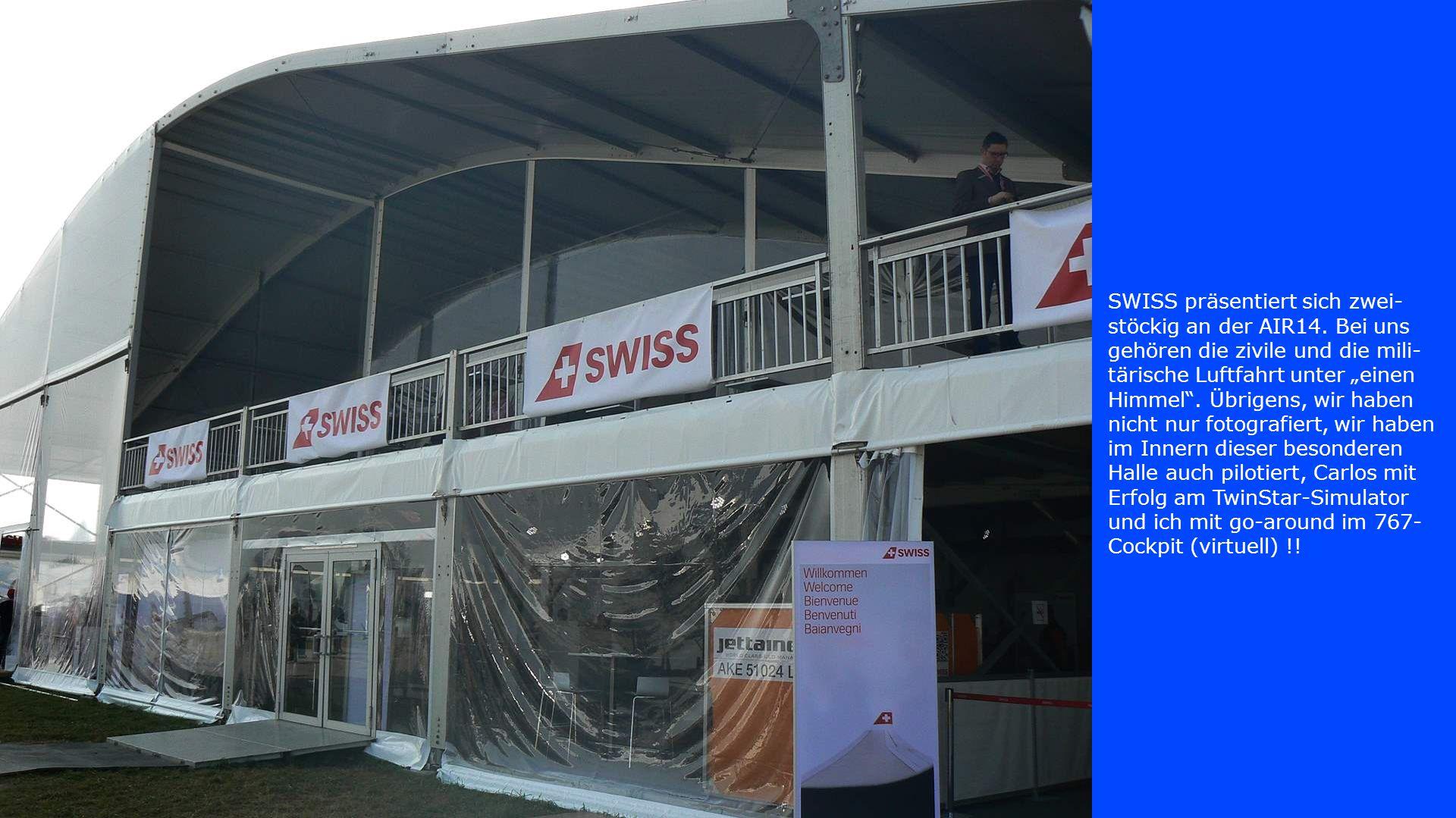 """SWISS präsentiert sich zwei- stöckig an der AIR14. Bei uns gehören die zivile und die mili- tärische Luftfahrt unter """"einen Himmel"""". Übrigens, wir hab"""