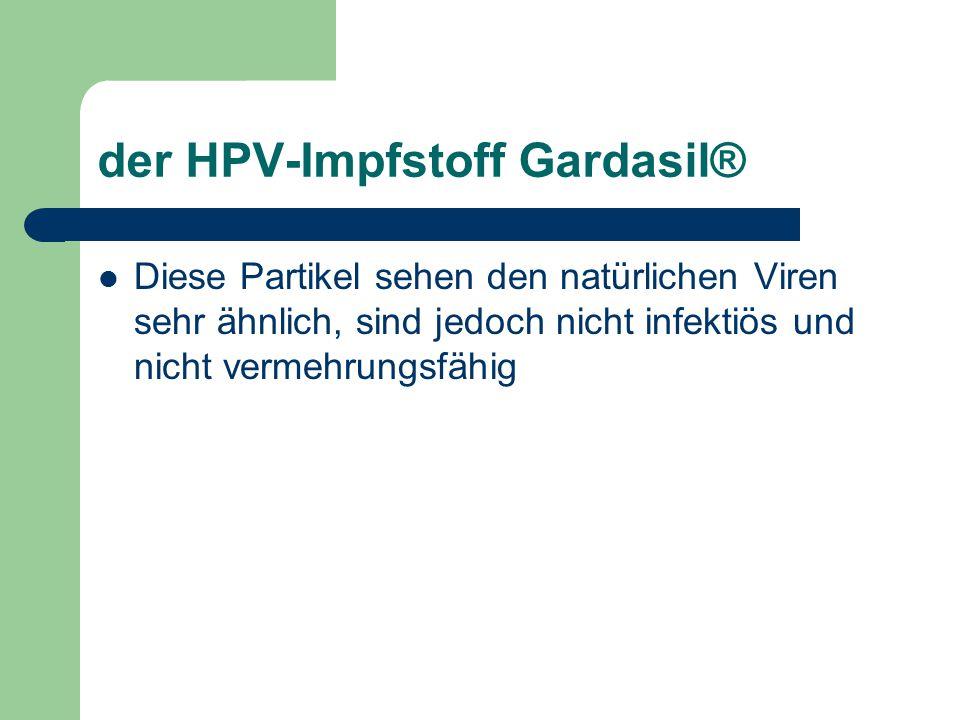der HPV-Impfstoff Gardasil® Diese Partikel sehen den natürlichen Viren sehr ähnlich, sind jedoch nicht infektiös und nicht vermehrungsfähig