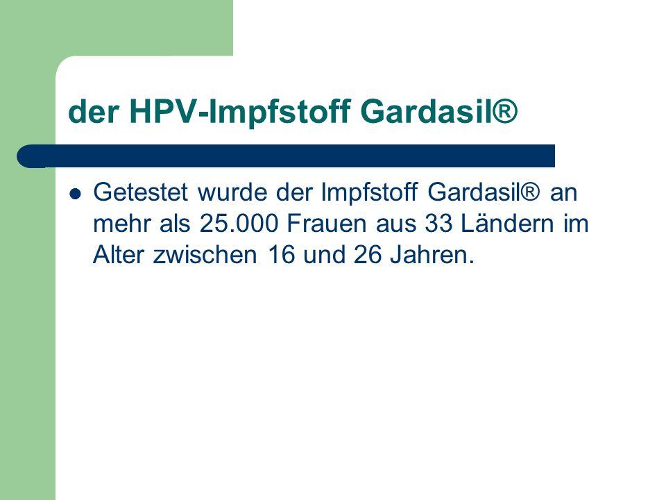der HPV-Impfstoff Gardasil® Getestet wurde der Impfstoff Gardasil® an mehr als 25.000 Frauen aus 33 Ländern im Alter zwischen 16 und 26 Jahren.