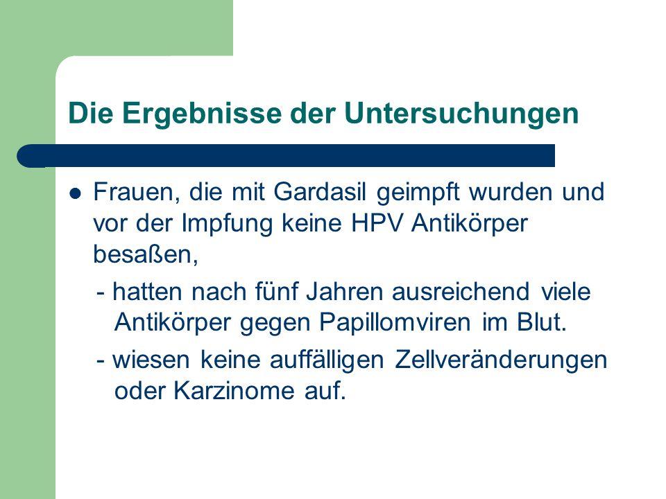 Die Ergebnisse der Untersuchungen Frauen, die mit Gardasil geimpft wurden und vor der Impfung keine HPV Antikörper besaßen, - hatten nach fünf Jahren