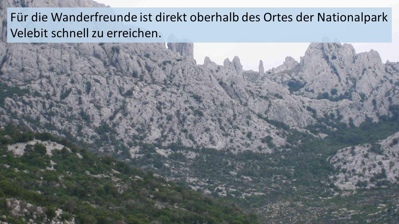 Für die Wanderfreunde ist direkt oberhalb des Ortes der Nationalpark Velebit schnell zu erreichen.