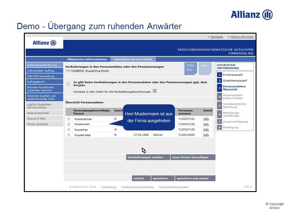 © Copyright Allianz © Copyright Allianz Demo – AK nach RU