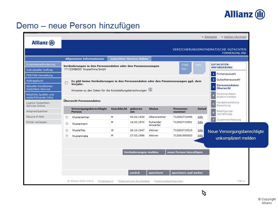 © Copyright Allianz © Copyright Allianz Demo – neue Person hinzufügen