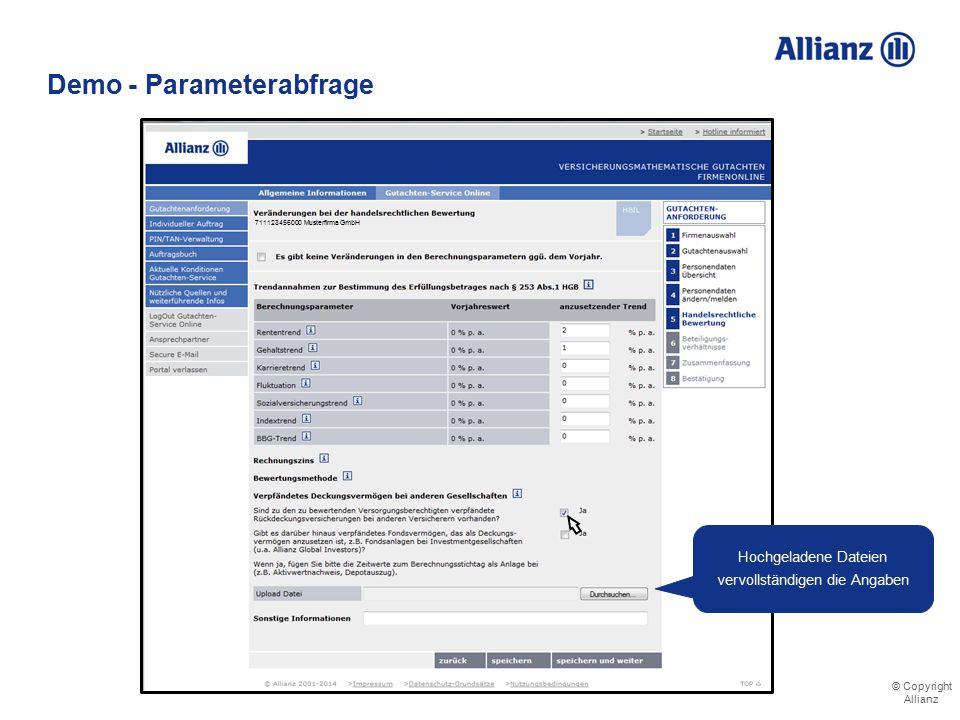 © Copyright Allianz Demo - Parameterabfrage Mitteilung über weiteres Deckungsvermögen bei anderen Versicherern 711123456000 Musterfirma GmbH