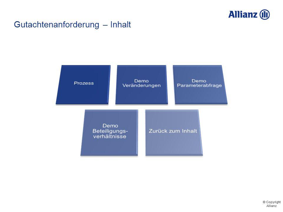 © Copyright Allianz Dateiname / Abteilung / Autor Demo - Parameterabfrage 711123456000 Musterfirma GmbH