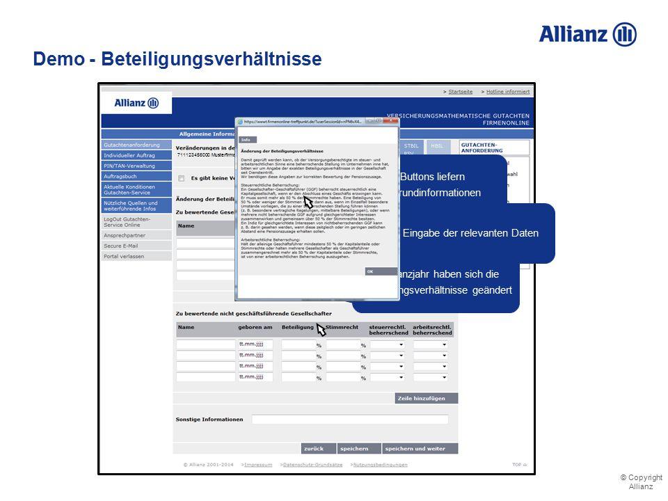 © Copyright Allianz © Copyright Allianz Demo - Beteiligungsverhältnisse
