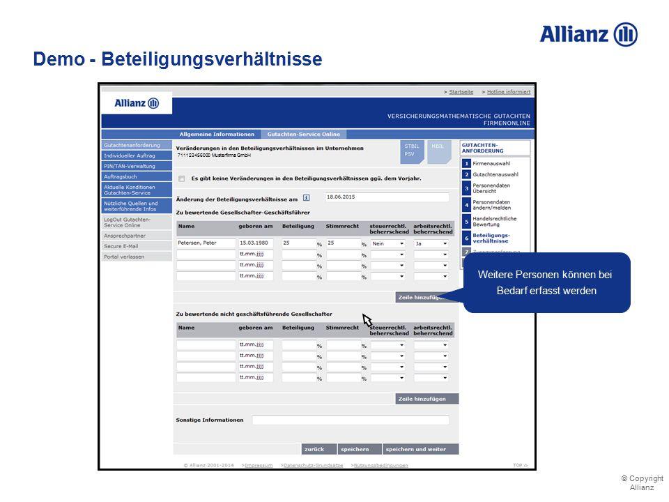 © Copyright Allianz Demo - Beteiligungsverhältnisse Im Bilanzjahr haben sich die Beteiligungsverhältnisse geändert Eingabe der relevanten Daten Info-B