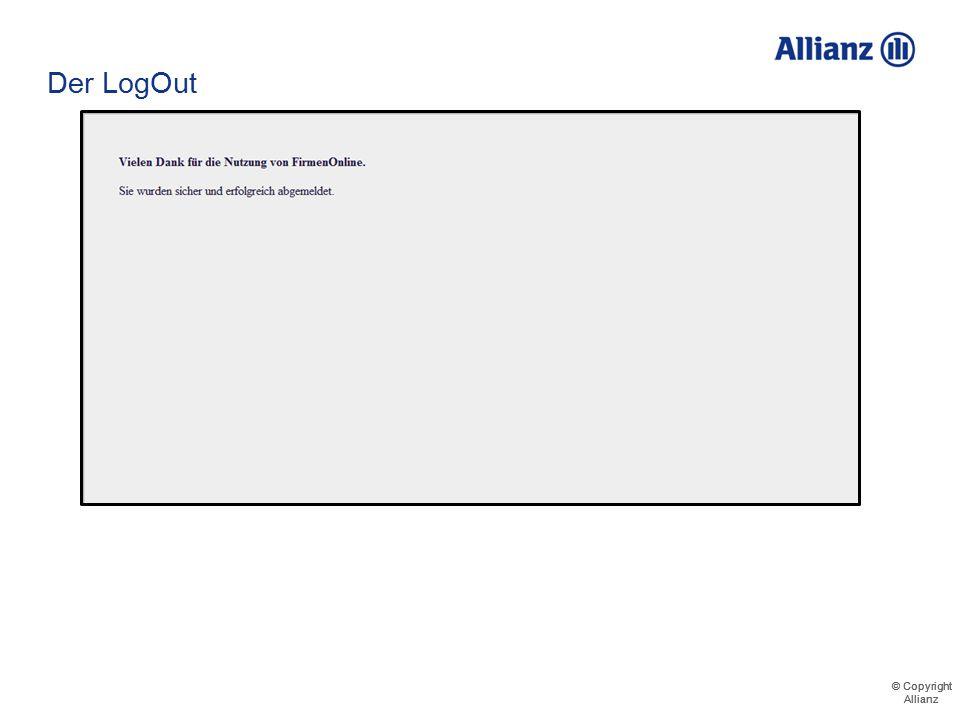 """© Copyright Allianz © Copyright Allianz Der LogOut Verbindung zum Portal durch das Klicken auf """"Portal verlassen"""" sicher trennen Maximilian Meyer"""
