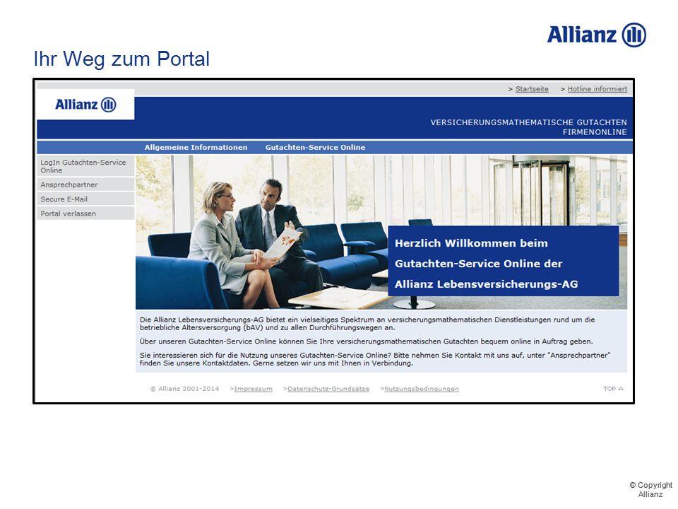 © Copyright Allianz © Copyright Allianz Freischaltungsmail
