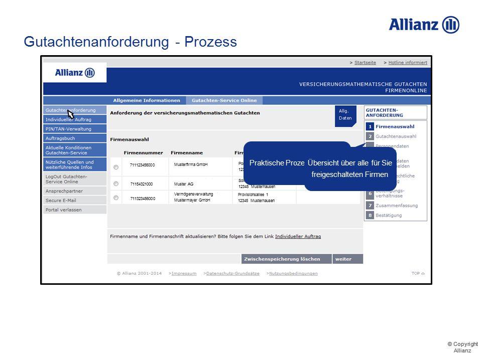 © Copyright Allianz © Copyright Allianz Gutachtenanforderung - Prozess Maximilian Meyer