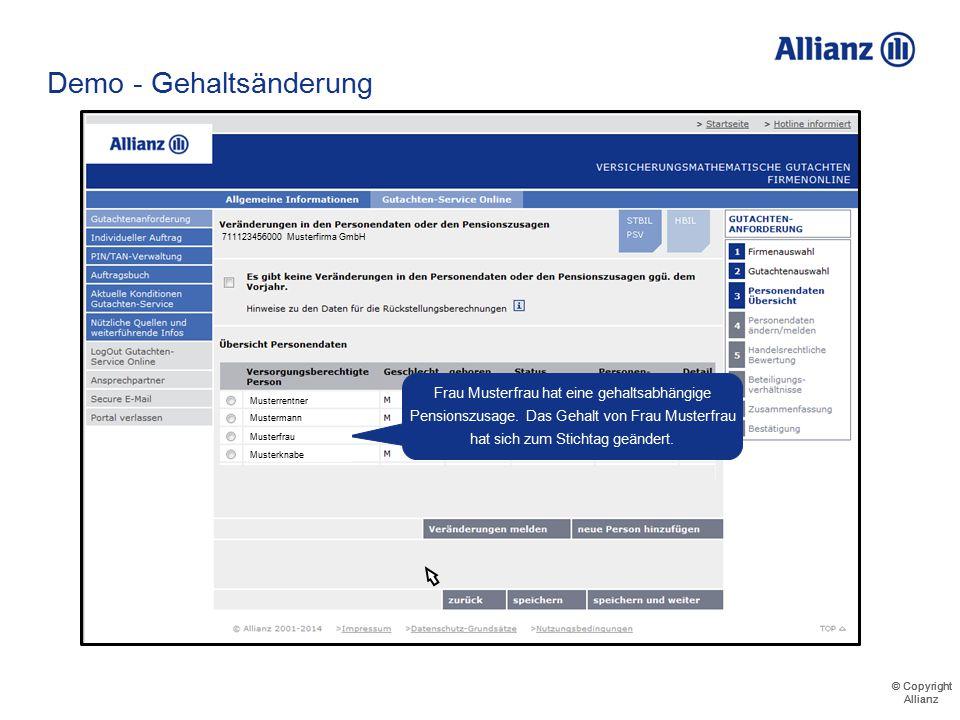 © Copyright Allianz © Copyright Allianz Demo - Gehaltsänderung