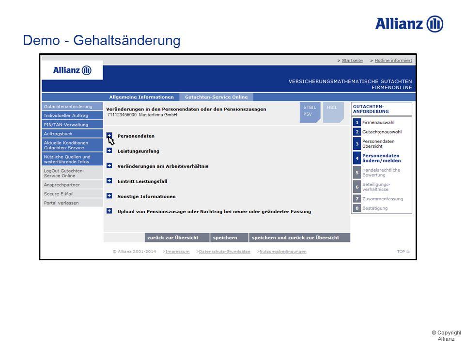 © Copyright Allianz © Copyright Allianz Demo - Gehaltsänderung 711123456000 Musterfirma GmbH Musterfrau