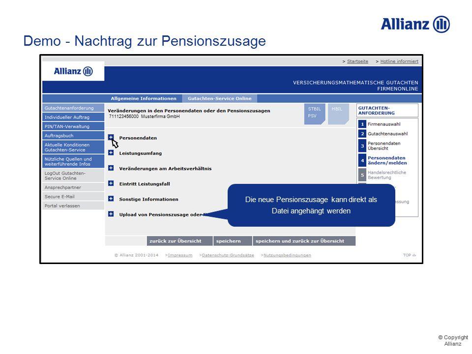 © Copyright Allianz © Copyright Allianz Demo - Nachtrag zur Pensionszusage 711123456000 Musterfirma GmbH Musterfrau
