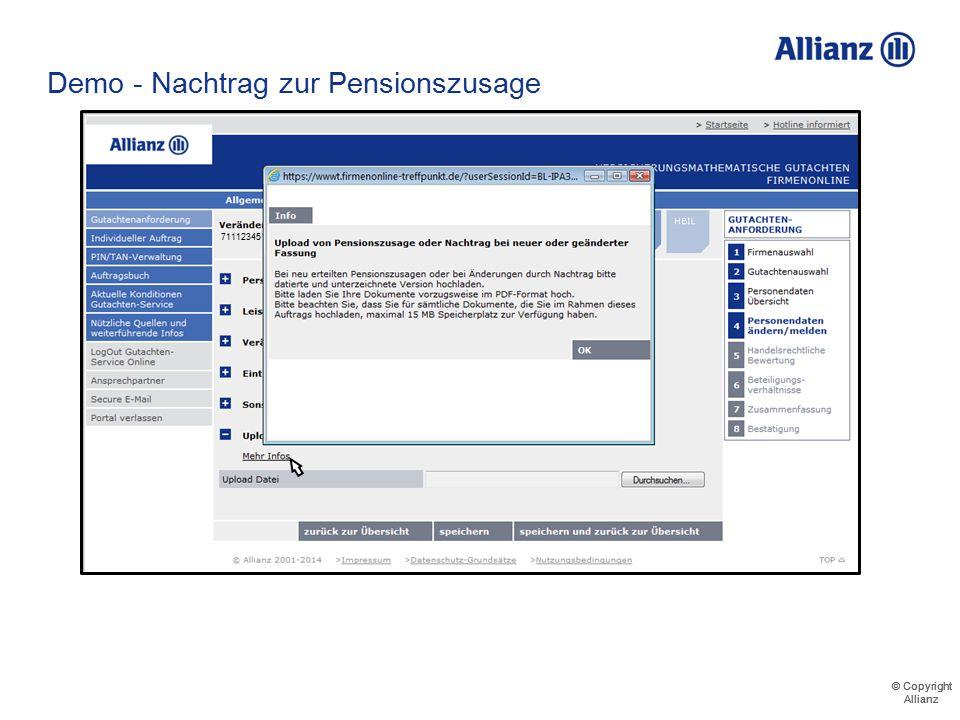 © Copyright Allianz © Copyright Allianz Demo - Nachtrag zur Pensionszusage 711123456000 Musterfirma GmbH