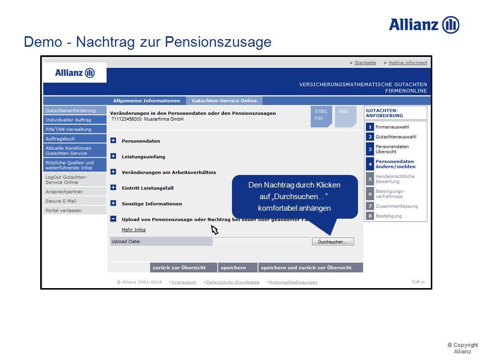 © Copyright Allianz © Copyright Allianz Demo - Nachtrag zur Pensionszusage 71112345