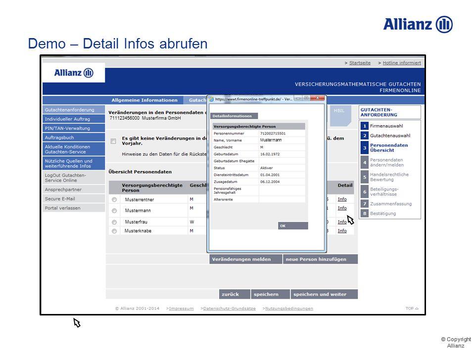 © Copyright Allianz © Copyright Allianz Demo – Detail Infos abrufen
