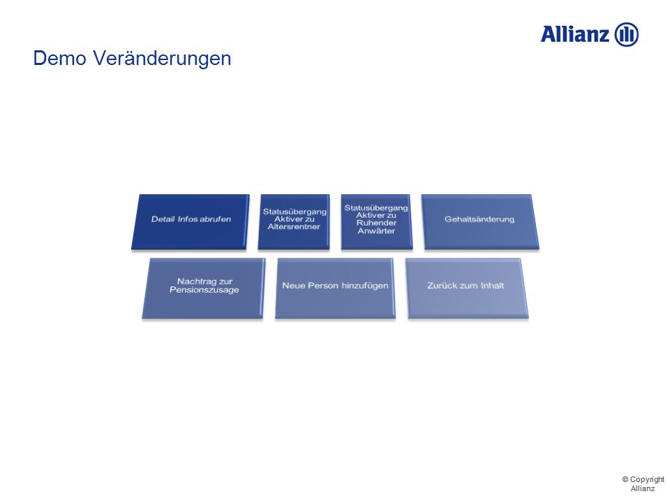 © Copyright Allianz © Copyright Allianz Demo – Detail Infos abrufen Musterrentner Mustermann Musterfrau Musterknabe 711123456000 Musterfirma GmbH Must