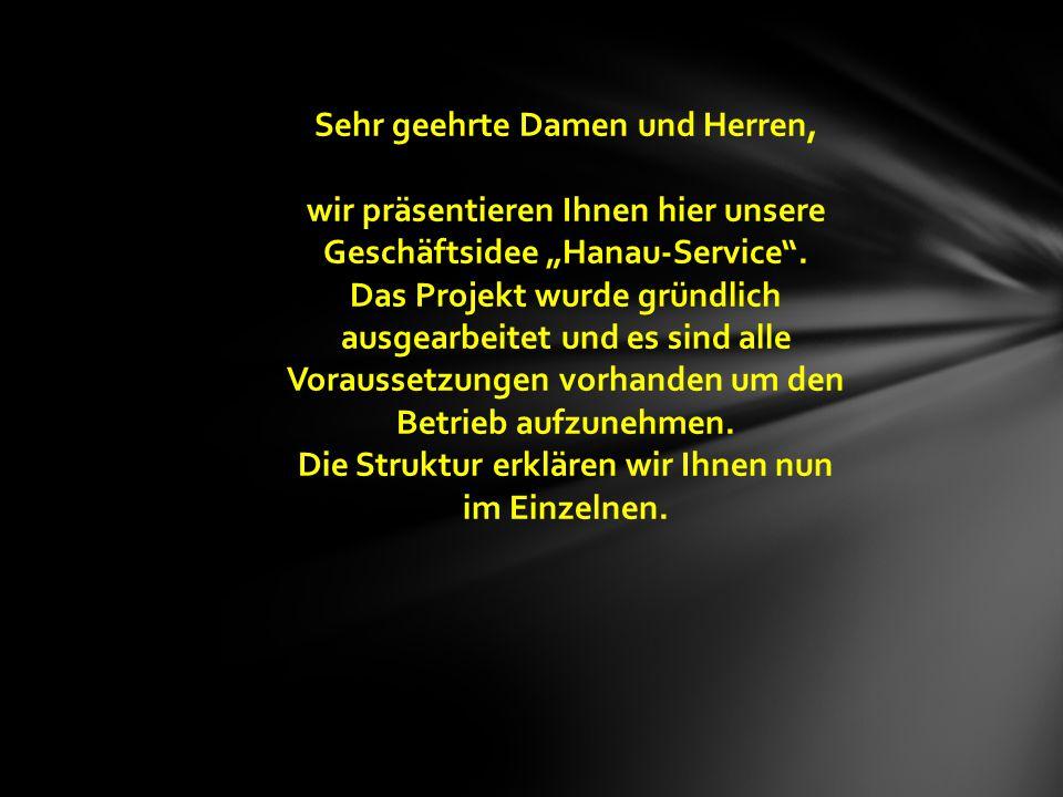 H S Organisation Verwaltung Vertrieb Klein-Unternehmer-Verbund Festangestellte Mitarbeiter,- € Minijob Mitarbeiter 450,- € Minijob Mitarbeiter Hanau-Service Unternehmensstruktur