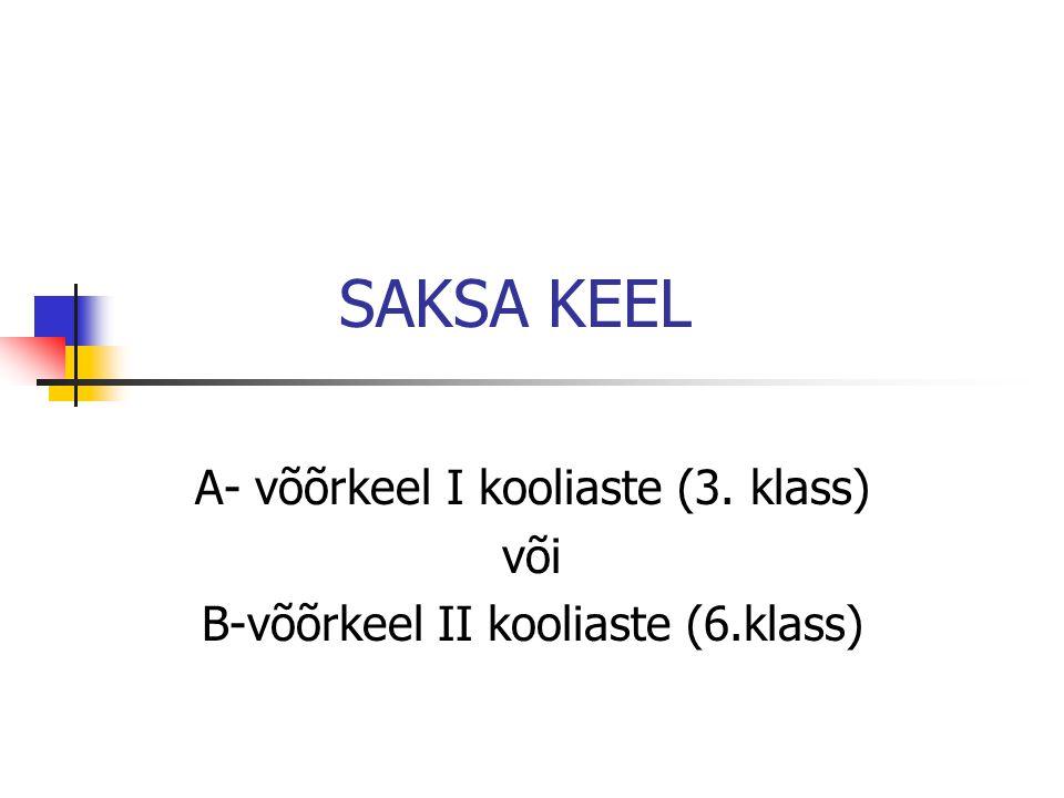 SAKSA KEEL A- võõrkeel I kooliaste (3. klass) või B-võõrkeel II kooliaste (6.klass)