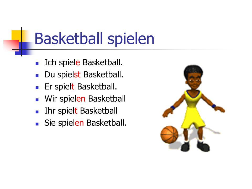 Basketball spielen Ich spiele Basketball. Du spielst Basketball. Er spielt Basketball. Wir spielen Basketball Ihr spielt Basketball Sie spielen Basket