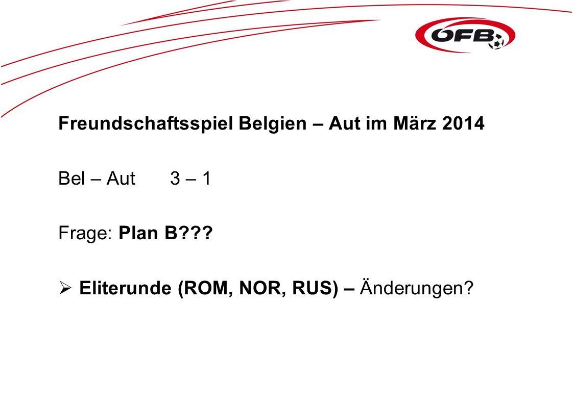Freundschaftsspiel Belgien – Aut im März 2014 Bel – Aut3 – 1 Frage: Plan B???  Eliterunde (ROM, NOR, RUS) – Änderungen?