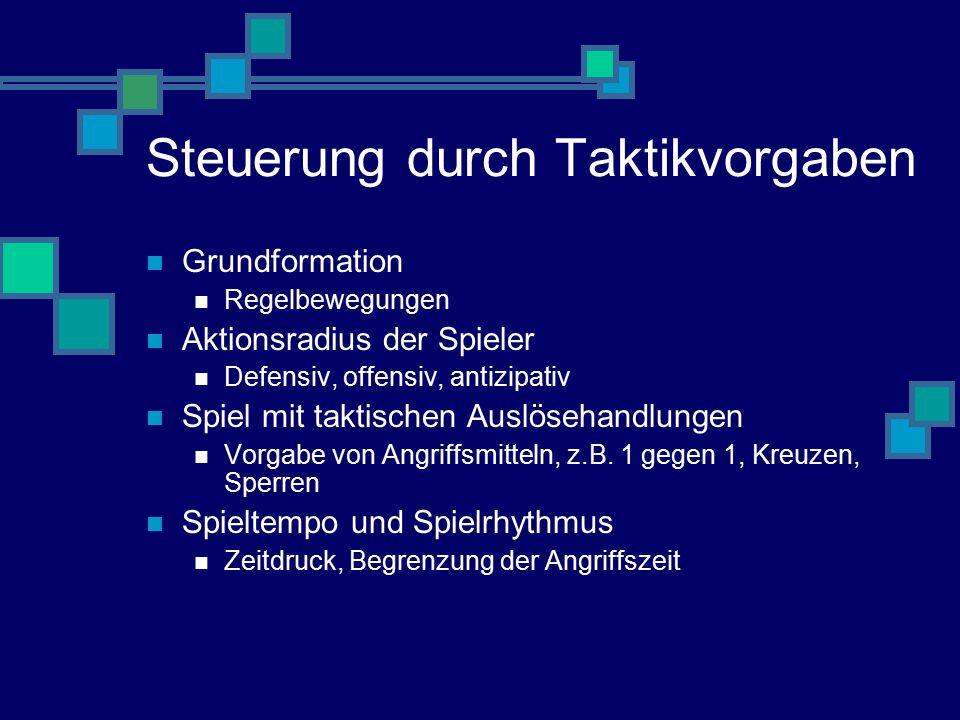 Steuerung durch Taktikvorgaben Grundformation Regelbewegungen Aktionsradius der Spieler Defensiv, offensiv, antizipativ Spiel mit taktischen Auslösehandlungen Vorgabe von Angriffsmitteln, z.B.