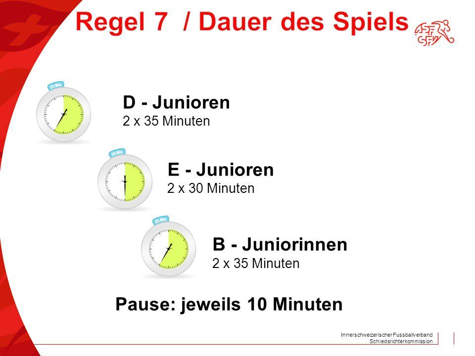 Innerschweizerischer Fussballverband Schiedsrichterkommission D - Junioren 2 x 35 Minuten E - Junioren 2 x 30 Minuten B - Juniorinnen 2 x 35 Minuten P